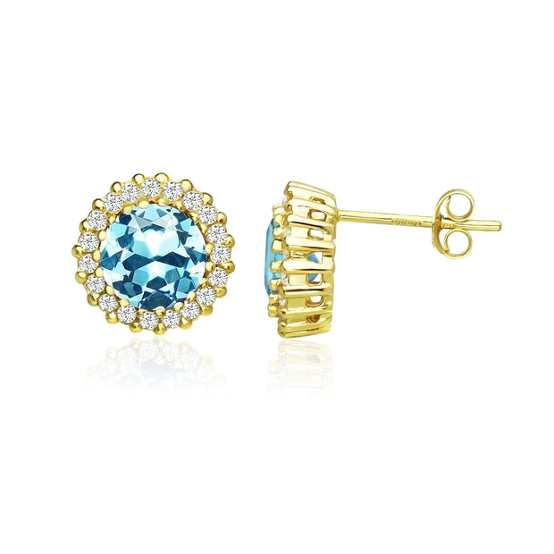 Yellow Gold Flashed Sterling Silver Created Aquamarine and Cubic Zirconia Round Halo Stud Earrings