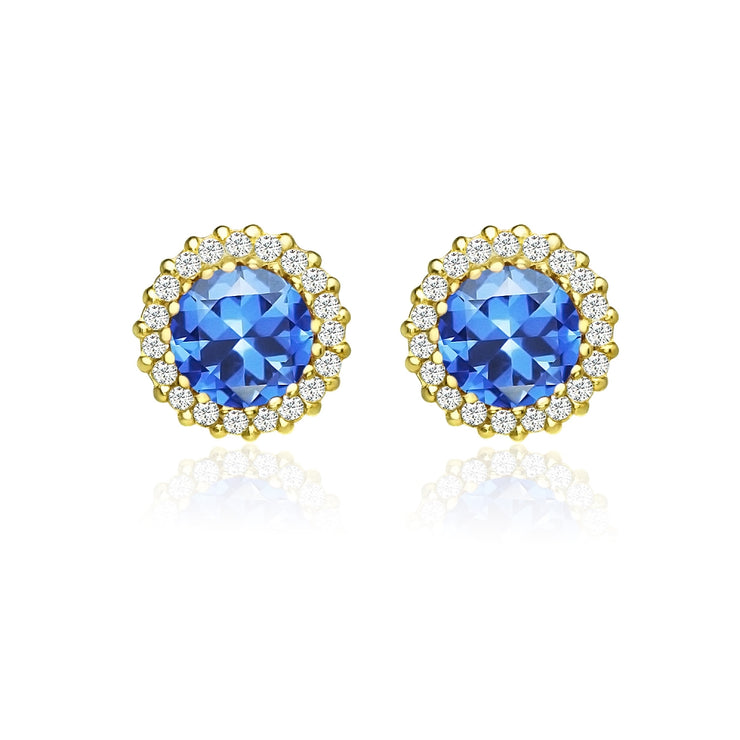 Yellow Gold Flashed Silver Created Blue Sapphire and Cubic Zirconia Round Halo Stud Earrings