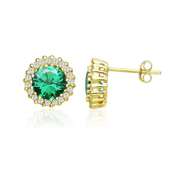 Yellow Gold Flashed Sterling Silver Created Emerald and Cubic Zirconia Round Halo Stud Earrings