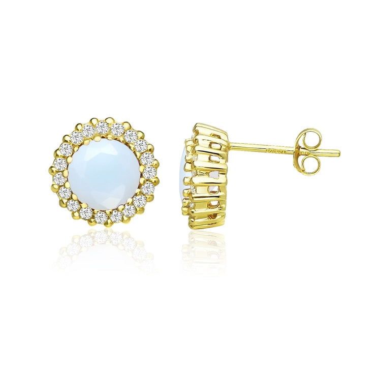 Yellow Gold Flashed Sterling Silver Created White Opal and Cubic Zirconia Round Halo Stud Earrings