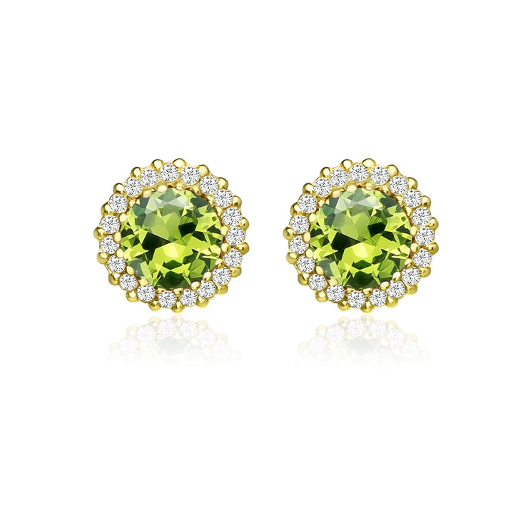 Yellow Gold Flashed Sterling Silver Created Peridot and Cubic Zirconia Round Halo Stud Earrings