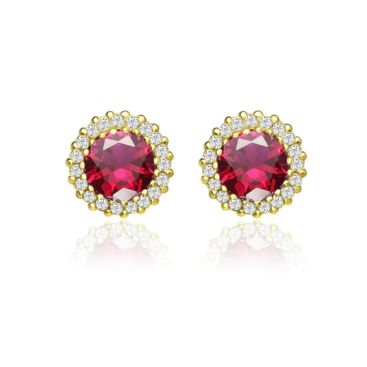 Yellow Gold Flashed Sterling Silver Created Ruby and Cubic Zirconia Round Halo Stud Earrings