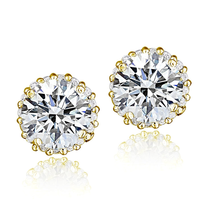 Gold Tone over Sterling Silver 100 Facets Cubic Zirconia Halo Stud Earrings (3cttw)