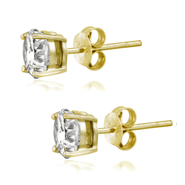 Gold Tone over Sterling Silver 100 Facets Cubic Zirconia Solitaire Stud Earrings (2cttw)