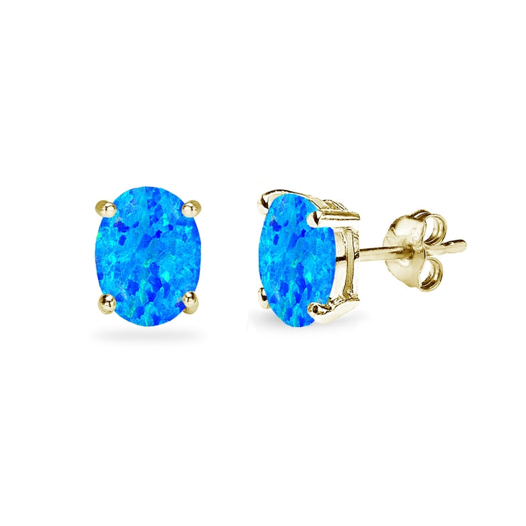 Yellow Gold Flashed Sterling Silver Created Blue Opal 7x5mm Oval-Cut Solitaire Stud Earrings