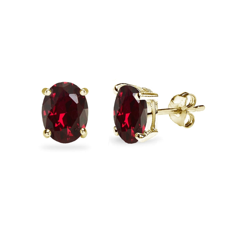 Yellow Gold Flashed Sterling Silver Created Ruby 7x5mm Oval-Cut Solitaire Stud Earrings