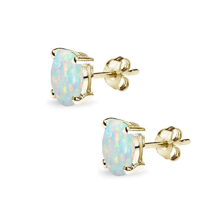 Yellow Gold Flashed Sterling Silver Created White Opal 7x5mm Oval-Cut Solitaire Stud Earrings