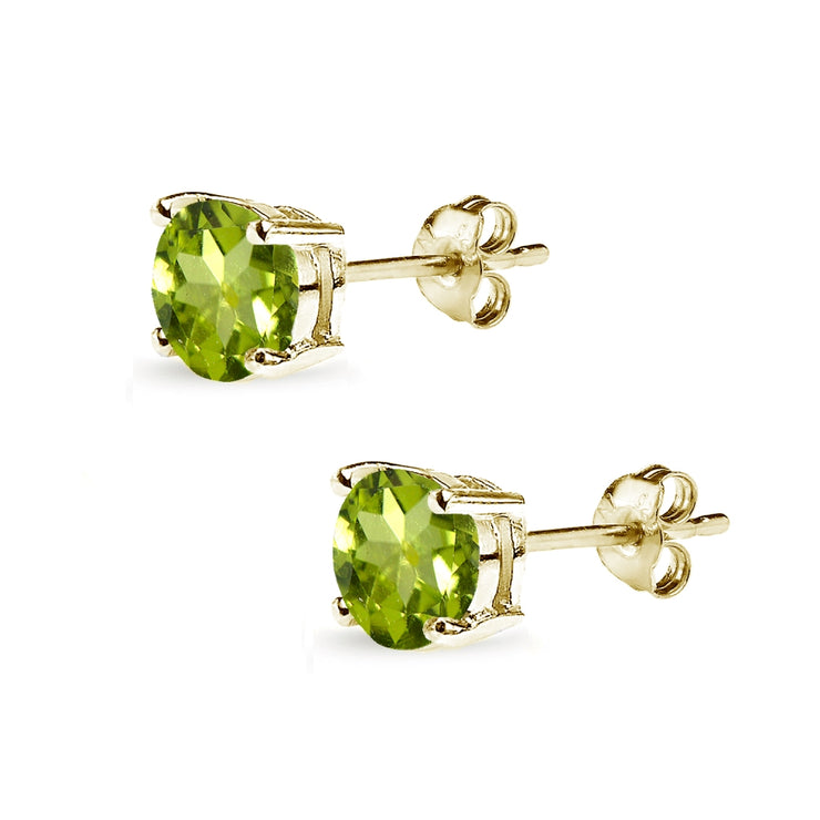 Yellow Gold Flashed Sterling Silver Peridot 7mm Round-Cut Solitaire Stud Earrings