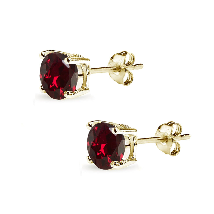 Yellow Gold Flashed Sterling Silver Created Ruby 7mm Round-Cut Solitaire Stud Earrings