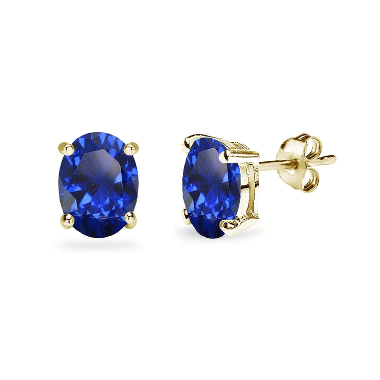 Yellow Gold Flashed Sterling Silver Created Blue Sapphire 8x6mm Oval-Cut Solitaire Stud Earrings