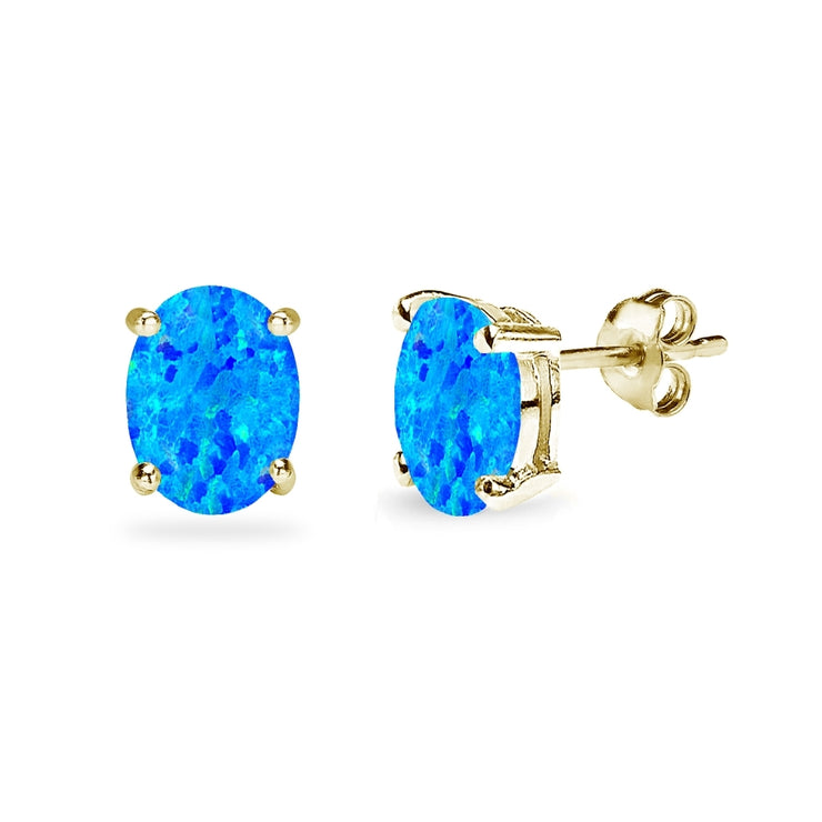Yellow Gold Flashed Sterling Silver Created Blue Opal 8x6mm Oval-Cut Solitaire Stud Earrings