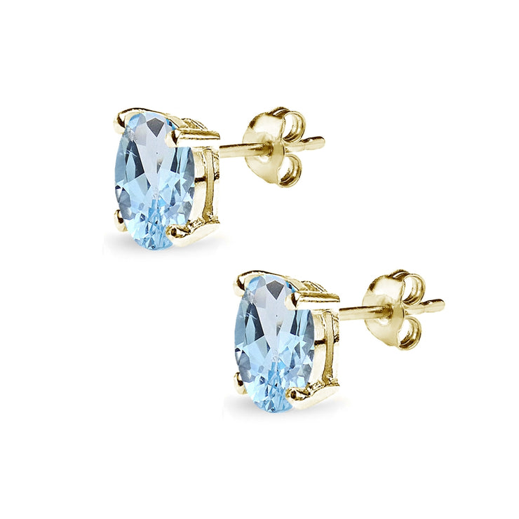 Yellow Gold Flashed Sterling Silver Blue Topaz 8x6mm Oval-Cut Solitaire Stud Earrings