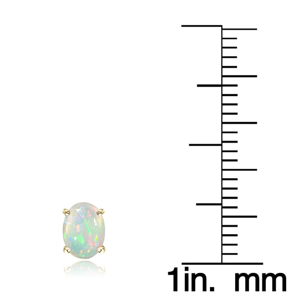Gold Tone over Sterling Silver 1.50ct Ethiopian Opal  8x6 Oval Stud Earrings