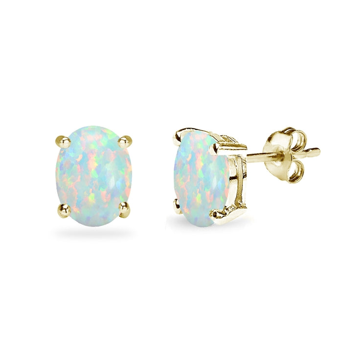 Yellow Gold Flashed Sterling Silver Created White Opal 8x6mm Oval-Cut Solitaire Stud Earrings