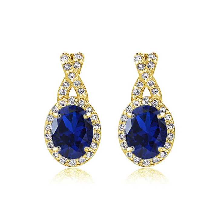 Yellow Gold Flashed Sterling Silver Created Blue Sapphire & White Topaz Oval X Drop Earrings