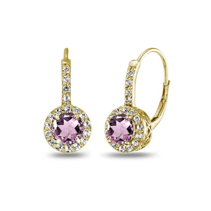 Yellow Gold Flashed Sterling Silver Created Alexandrite & White Topaz Round Dainty Halo Leverback Earrings