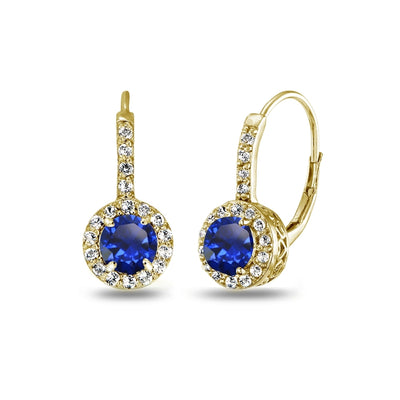 Yellow Gold Flashed Sterling Silver Created Blue Sapphire & White Topaz Round Dainty Halo Leverback Earrings