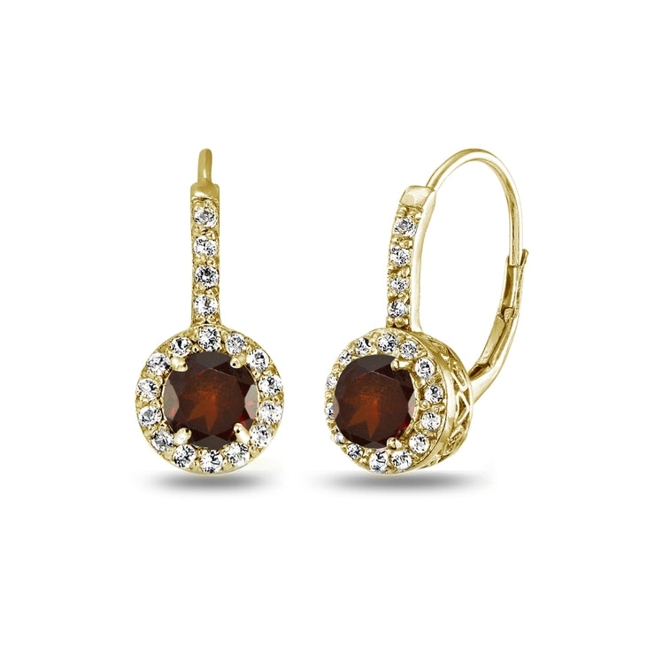 Yellow Gold Flashed Sterling Silver Garnet & White Topaz Round Dainty Halo Leverback Earrings