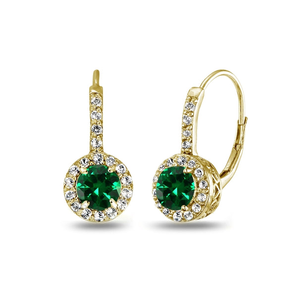 Yellow Gold Flashed Sterling Silver Created Emerald & White Topaz Round Dainty Halo Leverback Earrings