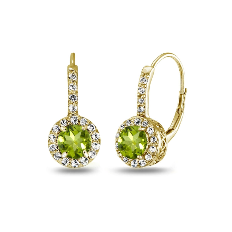Yellow Gold Flashed Sterling Silver Peridot & White Topaz Round Dainty Halo Leverback Earrings