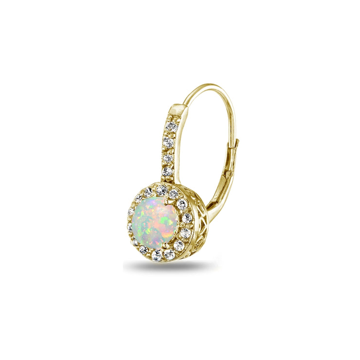 Yellow Gold Flashed Sterling Silver Created White Opal & White Topaz Round Dainty Halo Leverback Earrings