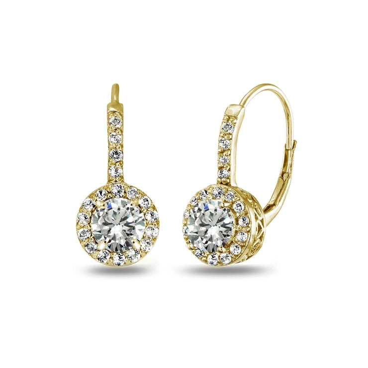 Yellow Gold Flashed Sterling Silver Cubic Zirconia Round Dainty Halo Leverback Earrings
