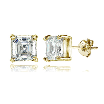 Yellow Gold Flashed Sterling Silver Asscher-Cut 6mm Stud Earrings Made with Swarovski Zirconia