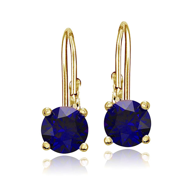 Yellow Gold Flashed Sterling Silver Created Blue Sapphire 6mm Round Leverback Earrings