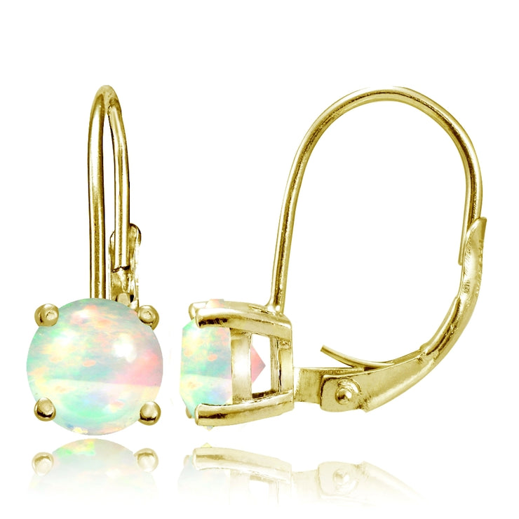Gold Tone over Sterling Silver 1.1ct Ethiopian Opal 6mm Round Leverback Earrings