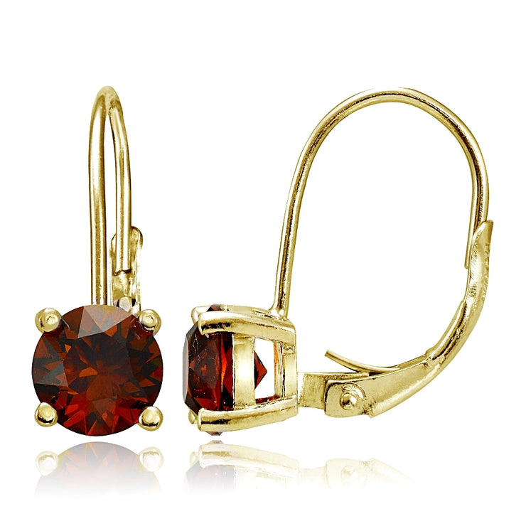 Yellow Gold Flashed Sterling Silver Garnet 6mm Round Leverback Earrings