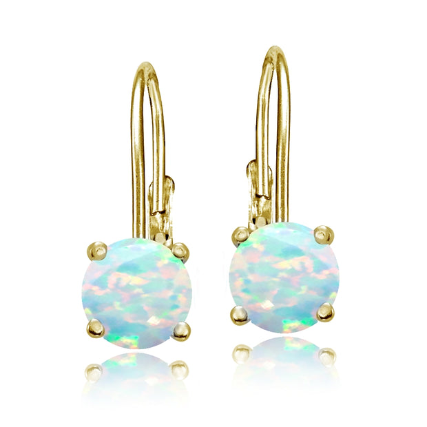 Yellow Gold Flashed Sterling Silver Created Opal 6mm Round Leverback Earrings