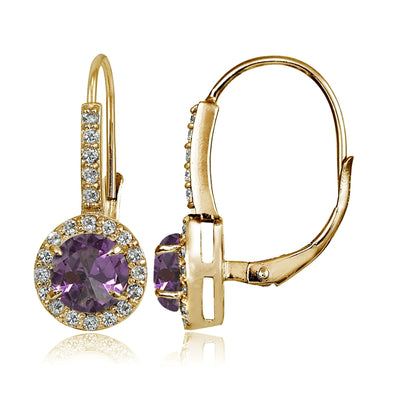 Yellow Gold Flashed Sterling Siver Simulated Alexandrite and Cubic Zirconia Accents Round Leverback Earrings
