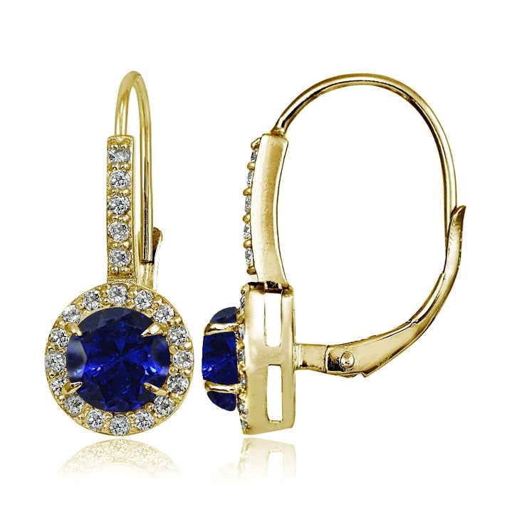 Yellow Gold Flashed Sterling Silver Created Blue Sapphire and Cubic Zirconia Accents Round Leverback Earrings