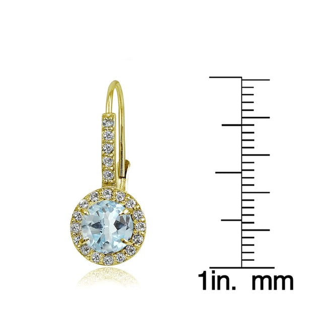 Yellow Gold Flashed Sterling Silver Blue Topaz and Cubic Zirconia Accents Round Leverback Earrings