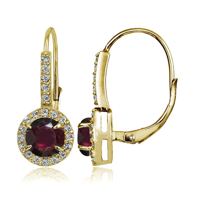 Yellow Gold Flashed Sterling Silver Garnet and Cubic Zirconia Accents Round Leverback Earrings
