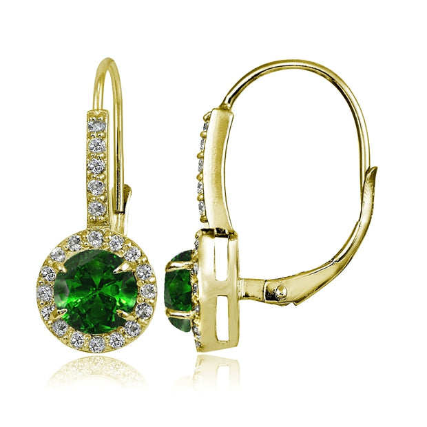 Yellow Gold Flashed Sterling Silver Created Emerald and Cubic Zirconia Accents Round Leverback Earrings