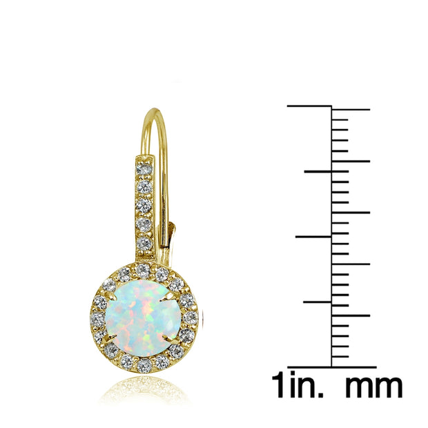 Yellow Gold Flashed Sterling Silver Created White Opal and Cubic Zirconia Accents Round Leverback Earrings