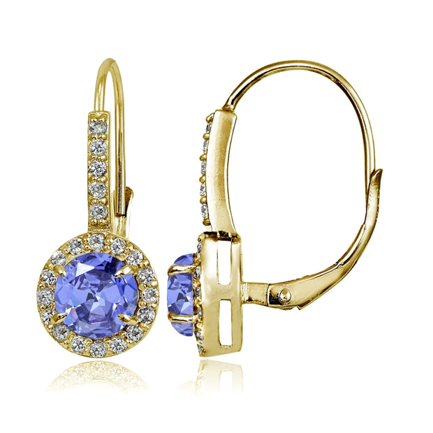 Yellow Gold Flashed Sterling Silver Tanzanite and White Topaz Round Leverback Earrings