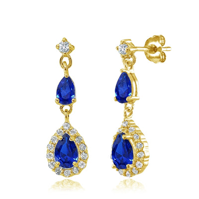 Yellow Gold Flashed Sterling Silver Created Blue Sapphire and White Topaz Fashion Teardrop Dangle Earrings