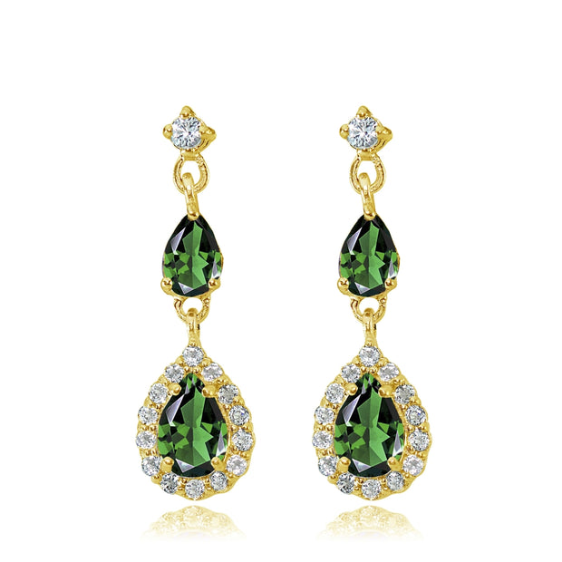 Yellow Gold Flashed Sterling Silver Created Emerald and White Topaz Fashion Teardrop Dangle Earrings