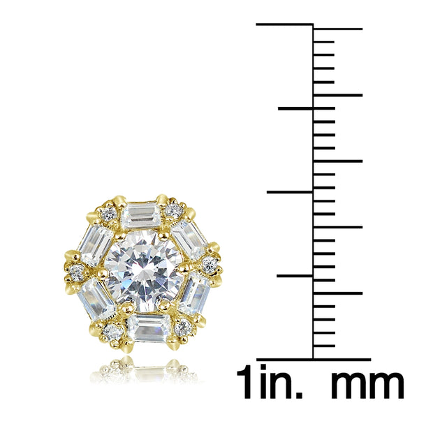 Gold over Sterling Silver 4.38ct Cubic Zicronia Baguette-Cut Flower Stud Earring