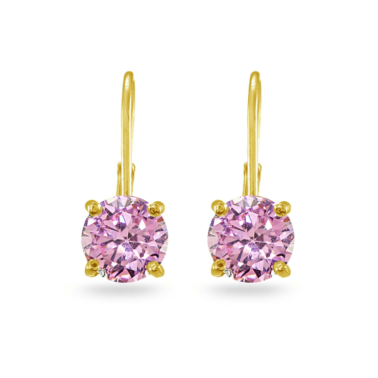 Yellow Gold Flashed Sterling Silver Pink Cubic Zirconia Round 7mm Leverback Earrings