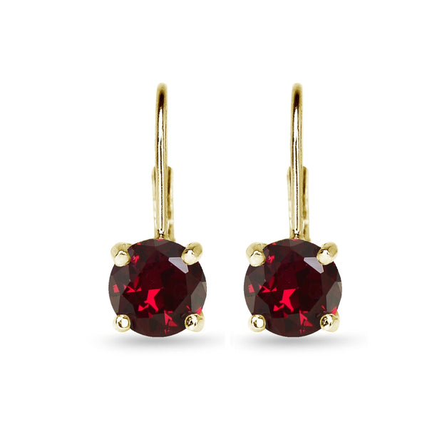 Yellow Gold Flashed Sterling Silver Polished Created Ruby 7mm Round Dainty Leverback Earrings