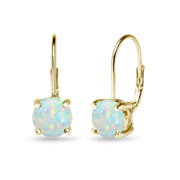 Yellow Gold Flashed Sterling Silver Polished Created Opal 7mm Round Dainty Leverback Earrings