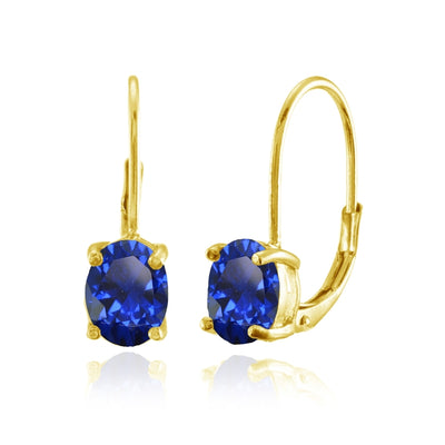 Yellow Gold Flashed Sterling Silver Created Blue Sapphire 8x6mm Oval Leverback Earrings