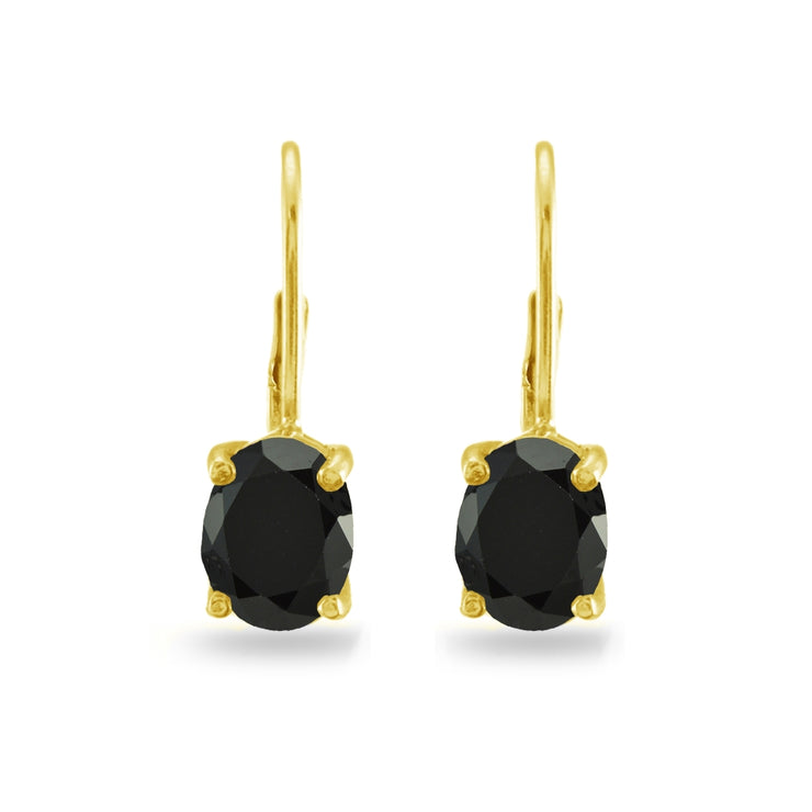 Yellow Gold Flashed Sterling Silver Black Cubic Zirconia Oval 8x6mm Leverback Earrings