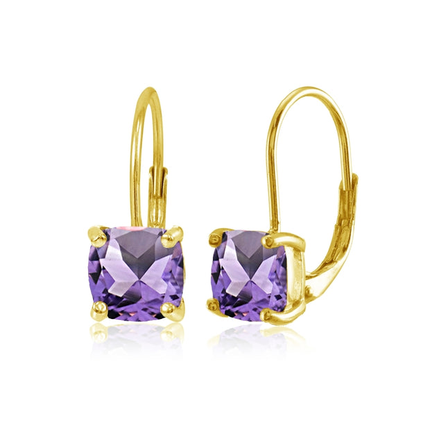 Yellow Gold Flashed Sterling Silver Amethyst 7x7mm Cushion-Cut Leverback Earrings