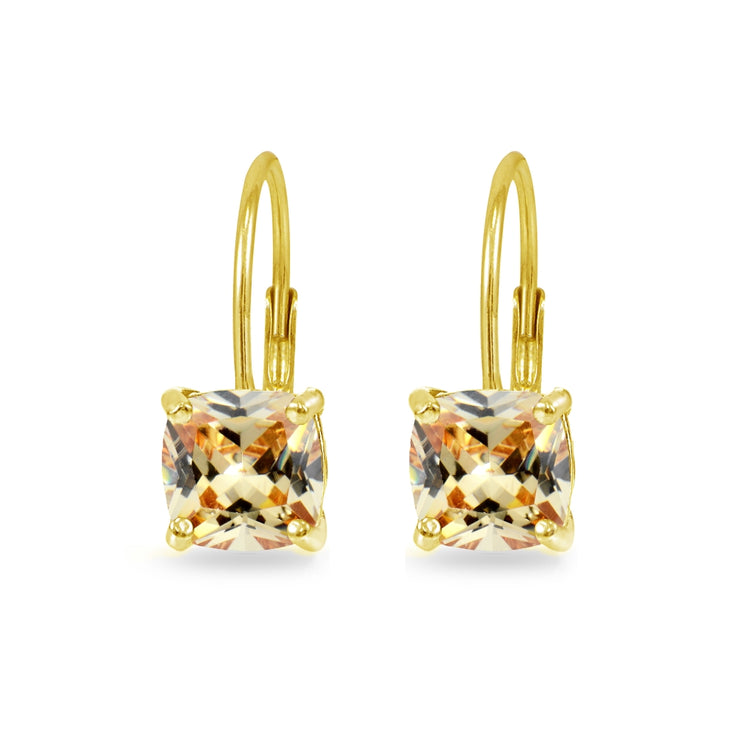 Yellow Gold Flashed Sterling Silver Champagne Cubic Zirconia Cushion-cut 7x7mm Leverback Earrings