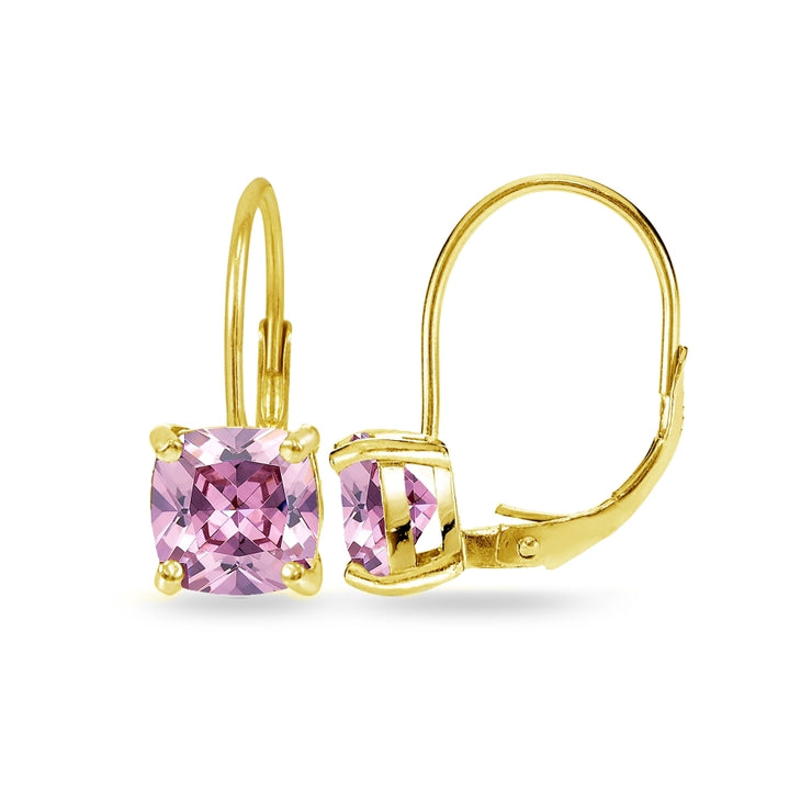 Yellow Gold Flashed Sterling Silver Pink Cubic Zirconia Cushion-cut 7x7mm Leverback Earrings