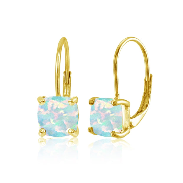Yellow Gold Flashed Sterling Silver Created White Opal 7x7mm Cushion-Cut Leverback Earrings